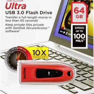 FLASH USB 64GB SANDISK ULTRA SDCZ48-064G-U46R RED