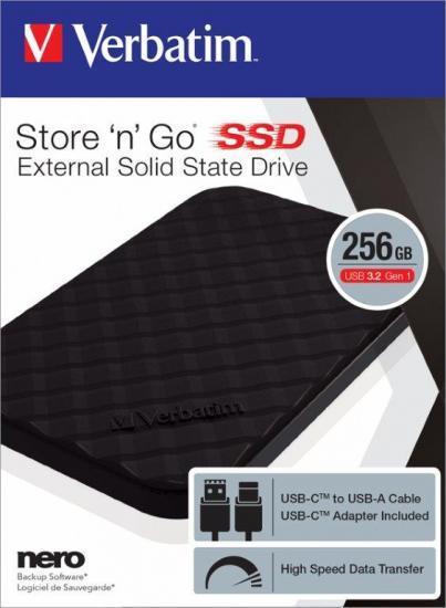 HARD DISK EXTERNI SSD VERBATIM 256GB STORE N GO